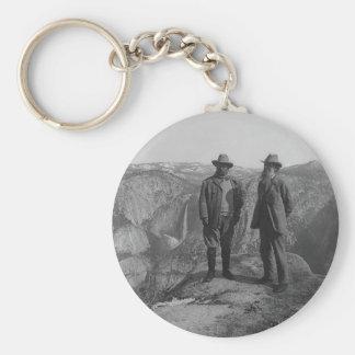 Theodore Roosevelt and John Muir on Glacier Point Basic Round Button Keychain