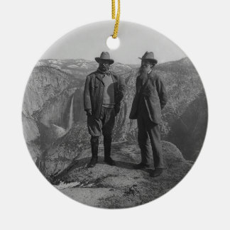 Theodore Roosevelt and John Muir on Glacier Point Ceramic Ornament