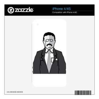 Theodore Roosevelt cartoon Decal For The iPhone 4S