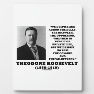 Theodore Roosevelt Despise Bully Coward Voluptuary Display Plaque
