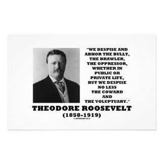 Theodore Roosevelt Despise Bully Coward Voluptuary Stationery