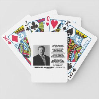 Theodore Roosevelt Fanatics Lunatic Fringe Quote Bicycle Poker Deck