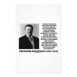 Theodore Roosevelt Fanatics Lunatic Fringe Quote Stationery