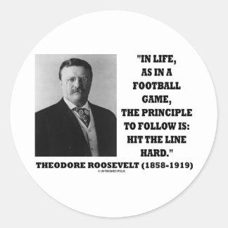 Theodore Roosevelt Life Football Game Hit Line Sticker