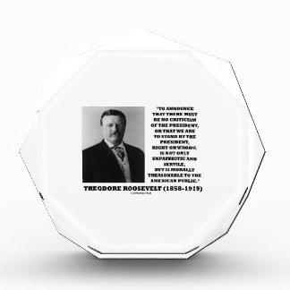 Theodore Roosevelt Morally Treasonable Quote Acrylic Award