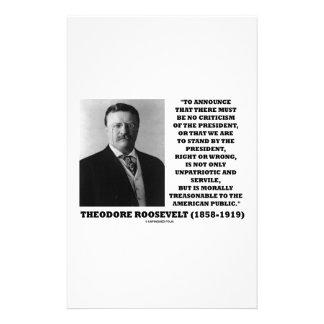 Theodore Roosevelt Morally Treasonable Quote Stationery