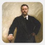 Theodore Roosevelt Calcomanías Cuadradass Personalizadas