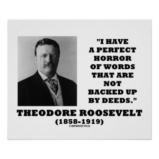 Theodore Roosevelt Perfect Horror Words Deeds Poster