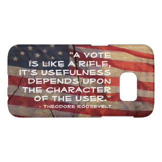 Theodore Roosevelt Quote Over Flag Background Samsung Galaxy S7 Case