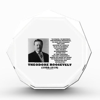 Theodore Roosevelt Waste Destroy Natural Resources Acrylic Award