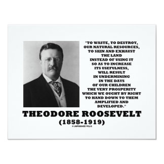 Theodore Roosevelt Waste Destroy Natural Resources Card