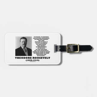 Theodore Roosevelt Waste Destroy Natural Resources Tag For Luggage