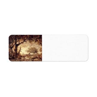 Theodore Rousseau- Edge of the Forest, Setting Sun Custom Return Address Label