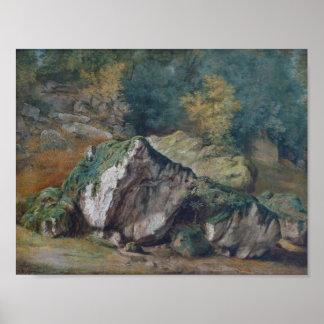 Théodore Rousseau-Etude de rochers et d'arbres Poster