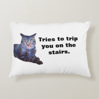 Theodore Trips You White & Purple Funny Cat Pillow