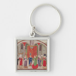 Theological and Cardinal Virtues Silver-Colored Square Keychain