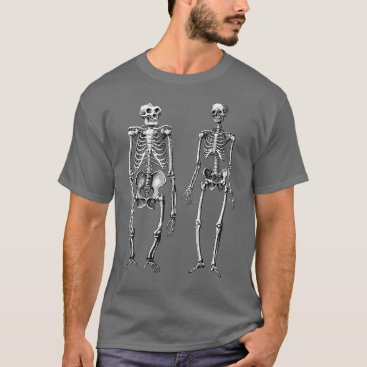 Theory of Evolution Skeletons of Man and Ape T-Shirt