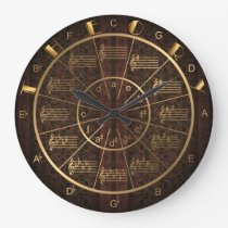 Theory of Music in Gold on Deep Red Pattern Large Clock