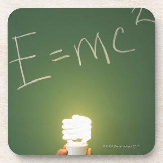 Theory of relativity on blackboard beverage coaster