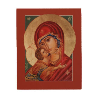 Theotokos Blessed Virgin Mary with Child Icon Wood Canvas