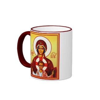 Theotokos con el icono del niño y la taza cruzada
