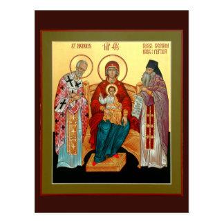 Theotokos con San Nicolás y Seraphim bendecidos Postal