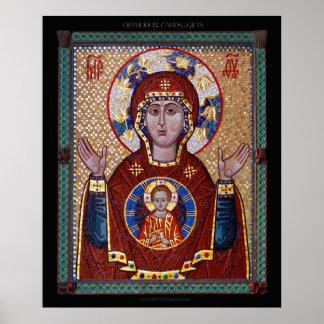 """Theotokos """"icono del mosaico de la muestra"""" póster"""