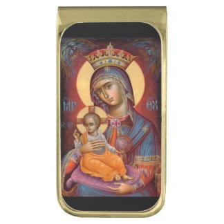 Theotokos Maria que detiene a Jesús Clip Para Billetes Dorado