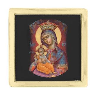 Theotokos Maria que detiene a Jesús Insignia Dorada