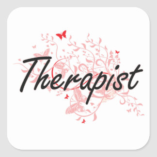 Therapist Artistic Job Design with Butterflies Square Sticker