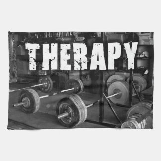 """THERAPY (Barbells) - """"Weight lifting"""" Motivational Towel"""