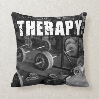 THERAPY (Barbells) - Weightlifting Motivational Throw Pillow