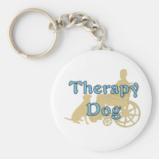 Therapy Dog Basic Round Button Keychain