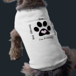 """Therapy Dog (Black Paw) Shirt<br><div class=""""desc"""">Let folks know your pup is a friendly therapy dog. Personalize with your dog&#39;s name. Black paw and pink heart motif. Therapy dogs are good for your health! CUSTOMIZATION NOTE: Due to changes in printing processes and design platform, some text may fall slightly out of the safe print area. Please...</div>"""