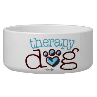 Therapy Dog Blue Paw Print Heart Bowl