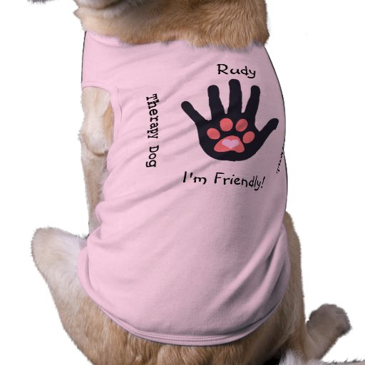 Therapy Dog (Deep Pink Paw) Doggie Tshirt