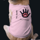 """Therapy Dog (Deep Pink Paw) T-Shirt<br><div class=""""desc"""">Special designs for special friends. Let folks know your dog is friendly and ready for petting and hugs. Pink paw and heart motif. CUSTOMIZATION NOTE: Due to changes in printing processes and design platforms, some text may fall slightly out of the safe print area from when the design was originally...</div>"""