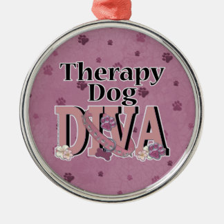 Therapy Dog DIVA Round Metal Christmas Ornament