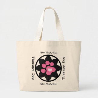 Therapy Dog Flower and Paw Large Tote Bag