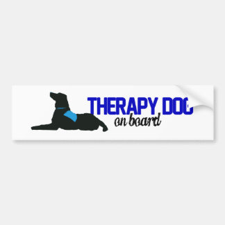 (Therapy) Dog on Board Blue Car Bumper Sticker