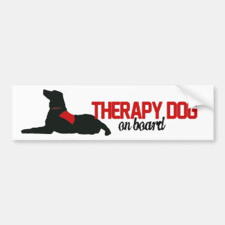 (Therapy) Dog on Board Red Bumper Sticker