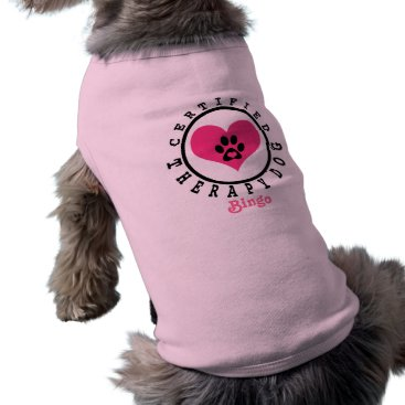 Valentines Themed Therapy Dog Pink Heart Paw and Name T-Shirt
