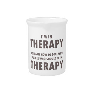 Therapy Humor Brown Font Beverage Pitchers