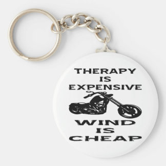 Therapy Is Expensive Biker Wind Is Cheap Basic Round Button Keychain