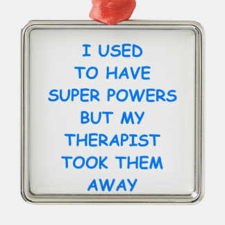 therapy square metal christmas ornament