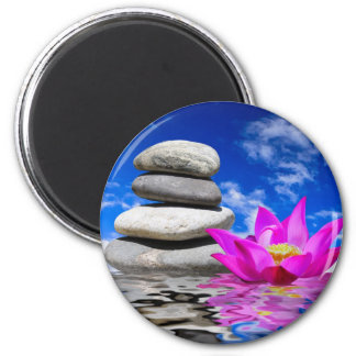 Therapy Rock Stones & Lotus Flower 2 Inch Round Magnet