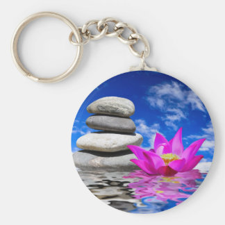Therapy Rock Stones & Lotus Flower Keychain