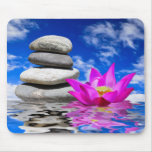 Therapy Rock Stones & Lotus Flower Mouse Pad