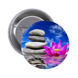 Therapy Rock Stones & Lotus Flower Pinback Button