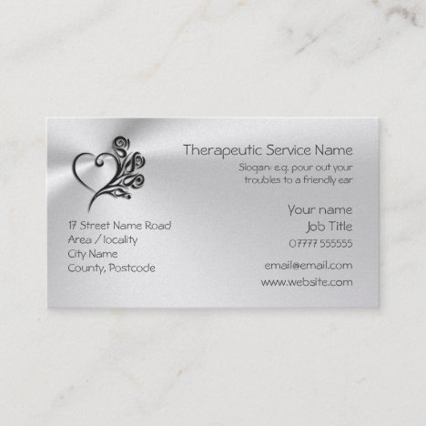 Therapy Service, Heart and Roses logo Business Card